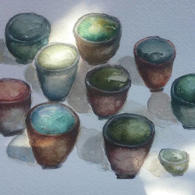 The sun plays on those crooked little jars or teacupshellip