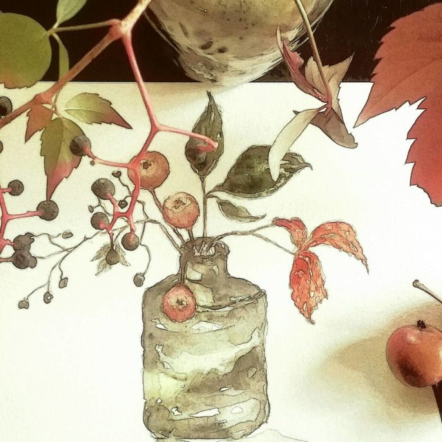 Autumn leaves berries and little crab apples in a crookedhellip