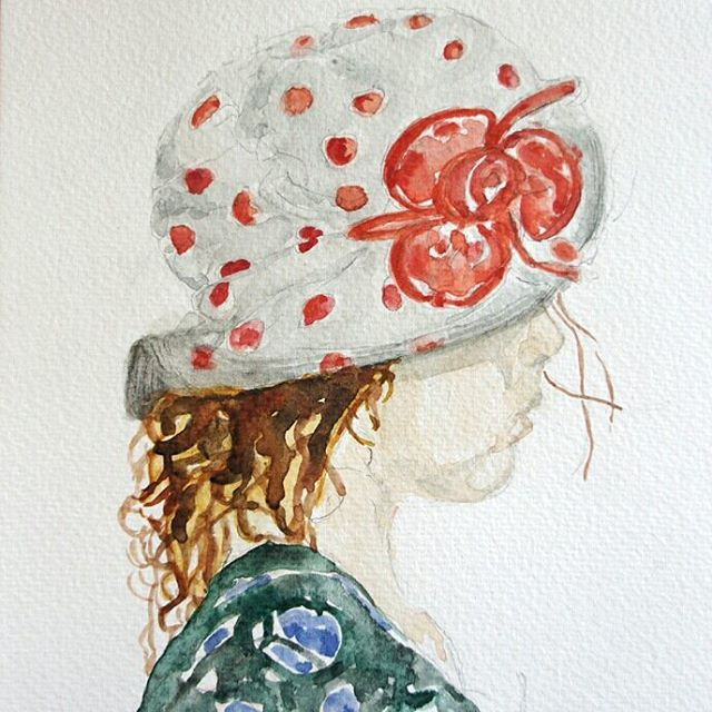 Hat with red dots growingfast fouryearsold profile aquarelle granddaughter watercolour