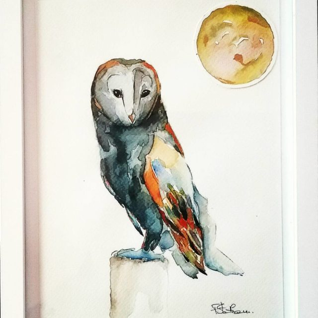 Night bird with collage moon He is pretty and hehellip