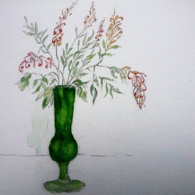 vintage glass vase with the last silkyoakflowers watercolours